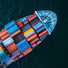 Aerial,Top,View,Container,Cargo,Ship,In,Import,Export,Business