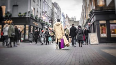 Abstract,Motion,Blurred,Shopper,Carrying,Shopping,Bags,On,Crowded,London